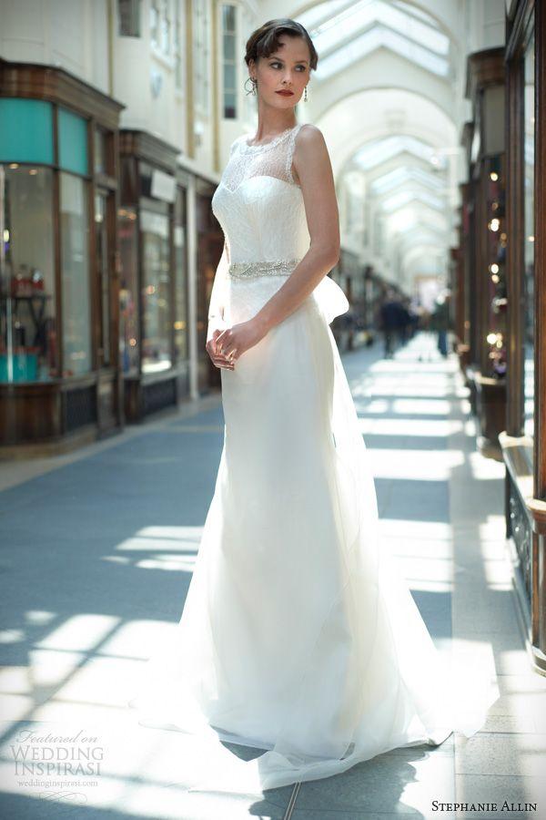 stephanie allin 2014 melanie sleeveless wedding dress illusion neckline
