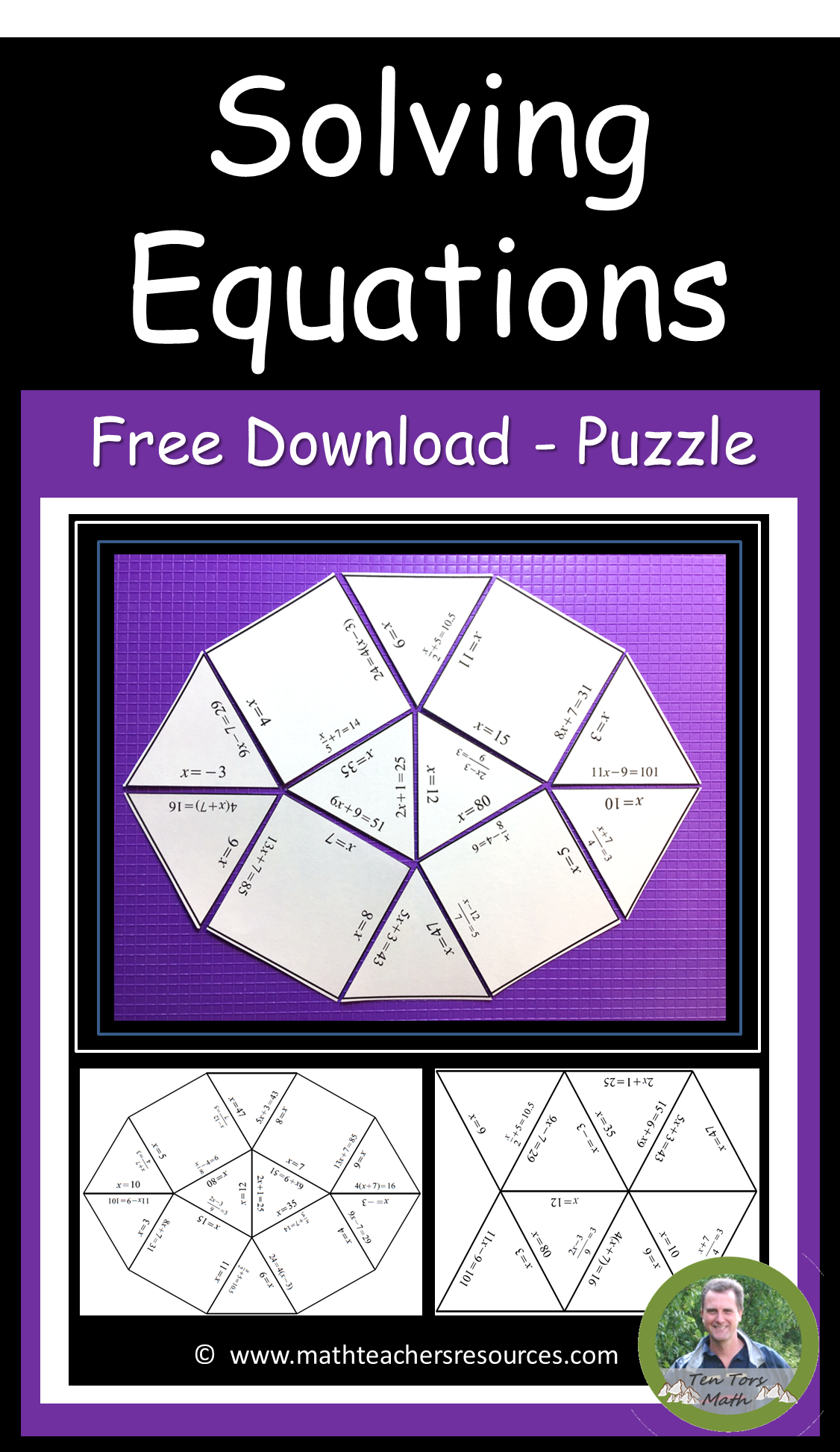 Solving Two Step Equations Puzzle Activity