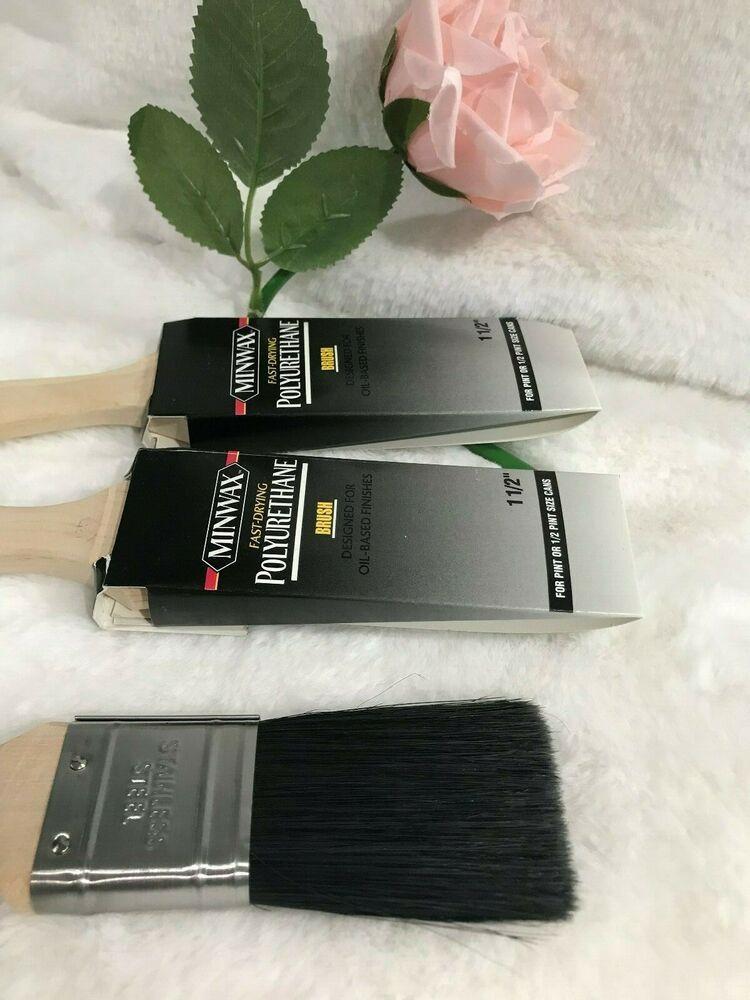 Polyurethane Stain Brush White China Bristle 1 1 2 In Lot Of 3 Minwax Stain Minwax White China