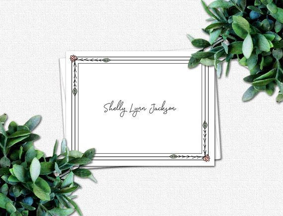 personalized folded note cards note card gifts for women floral gifts personalized note cards for women wildflowers - Personalized Folded Note Cards