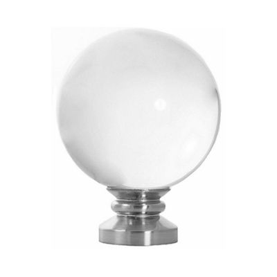 Modern Brushed Nickel Orion Acrylic Curtain Rod Finial With