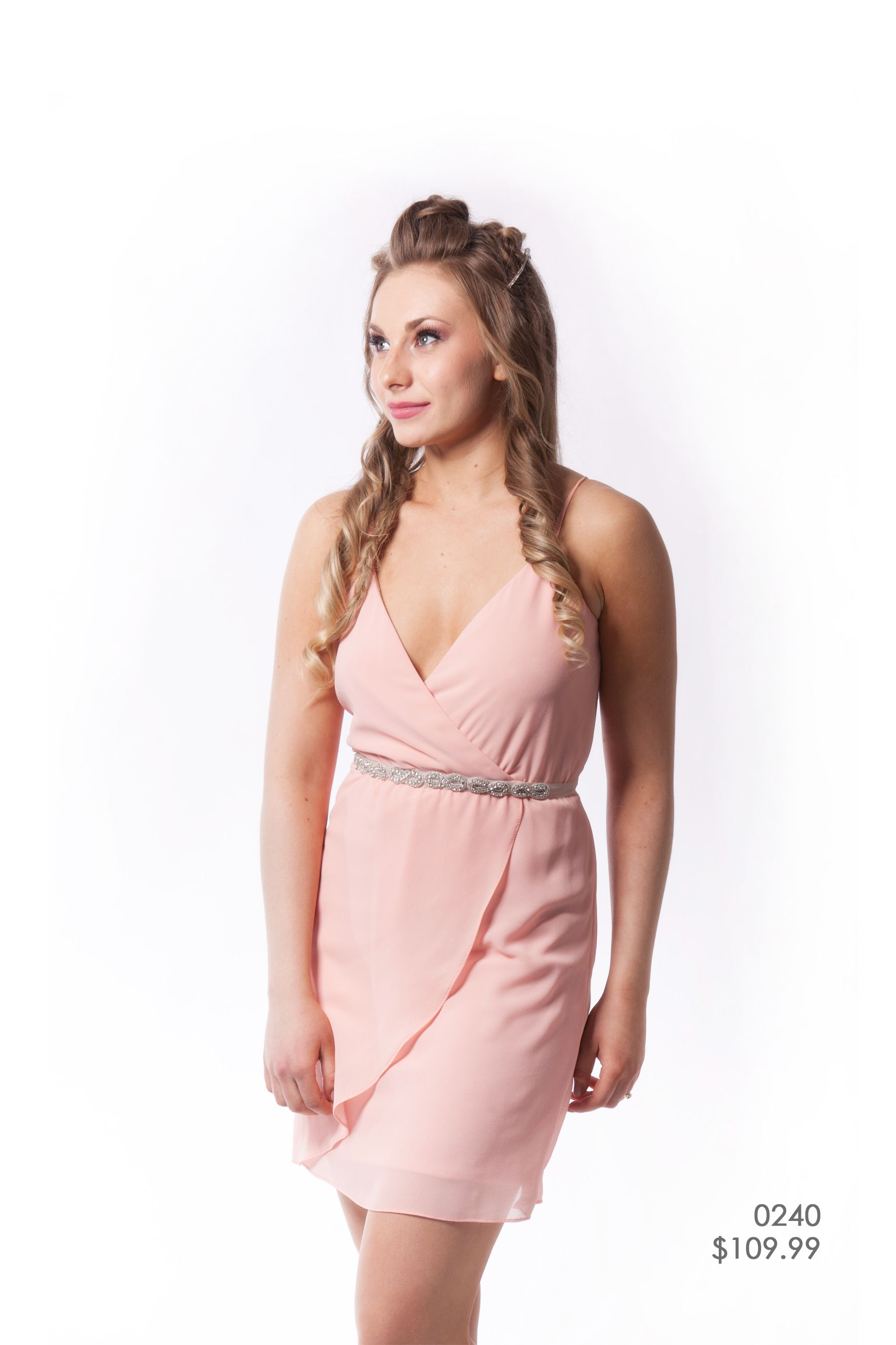 Blush Pink, Chiffon spaghetti strap knee-length bridesmaid dress ...