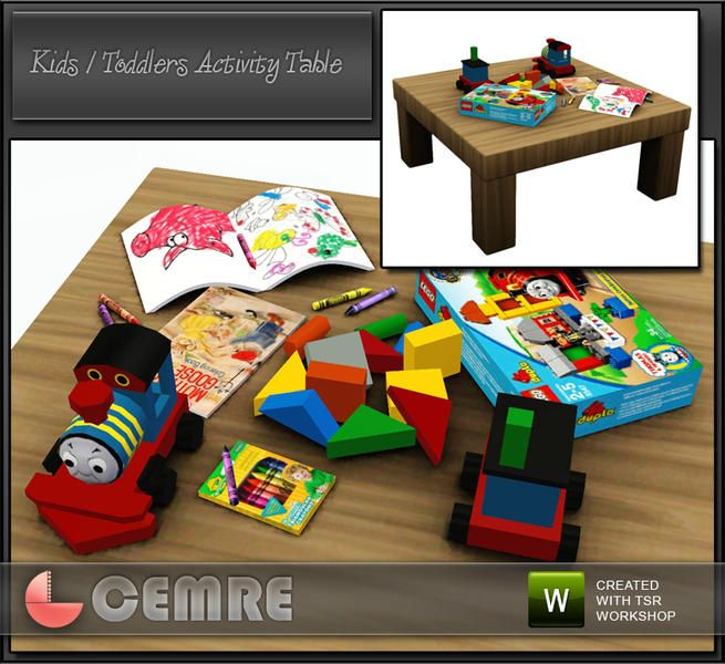 Kids / Baby Activity Table by Cemre for The Sims Resource Lego Box ...