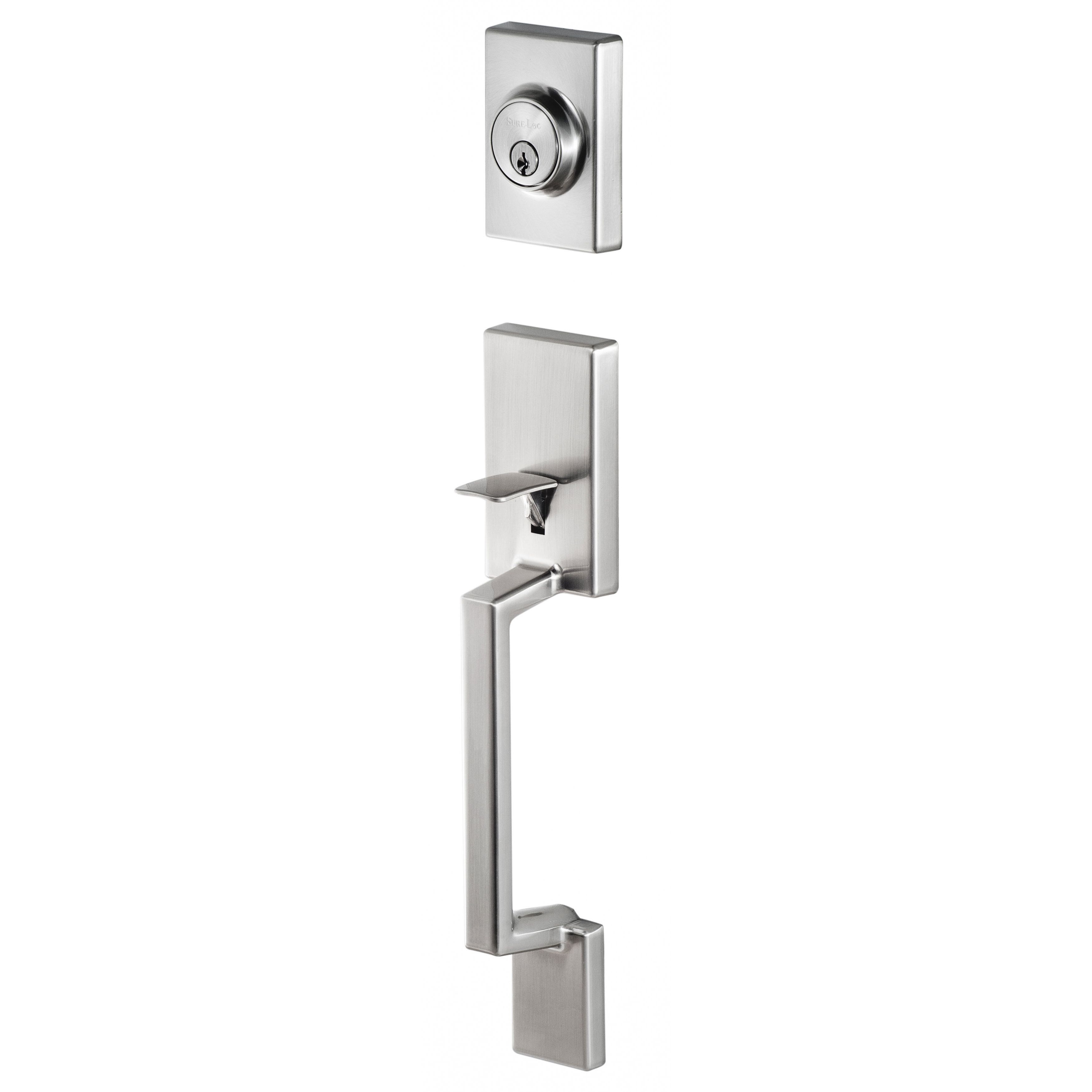 Sure Loc Stockholm Front Door Stainless Steel (Silver) Handle Set With  Interior Lever (Stockholm With Juneau Interior Lever)