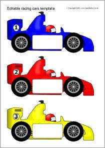 graphic relating to Printable Race Cars known as Editable racing automobile templates (SB7756) - SparkleBox Kiddo