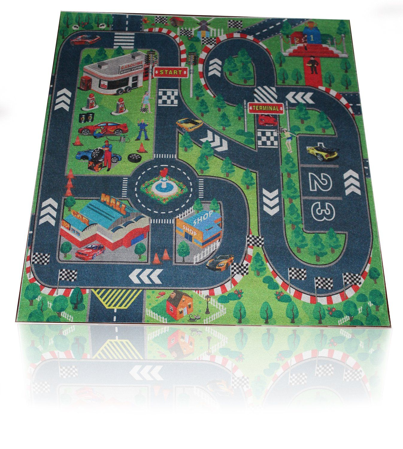 Road Map Rug Toddler Play Mat Kids Large Foam Floor Activity Child Car Map Rug on