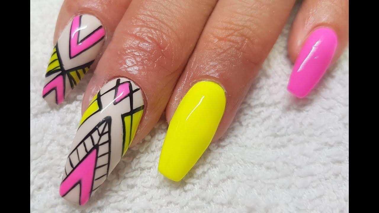 Acrylic Infill l Gel Polish Neon Abstract l Nail Design | Beauty ...
