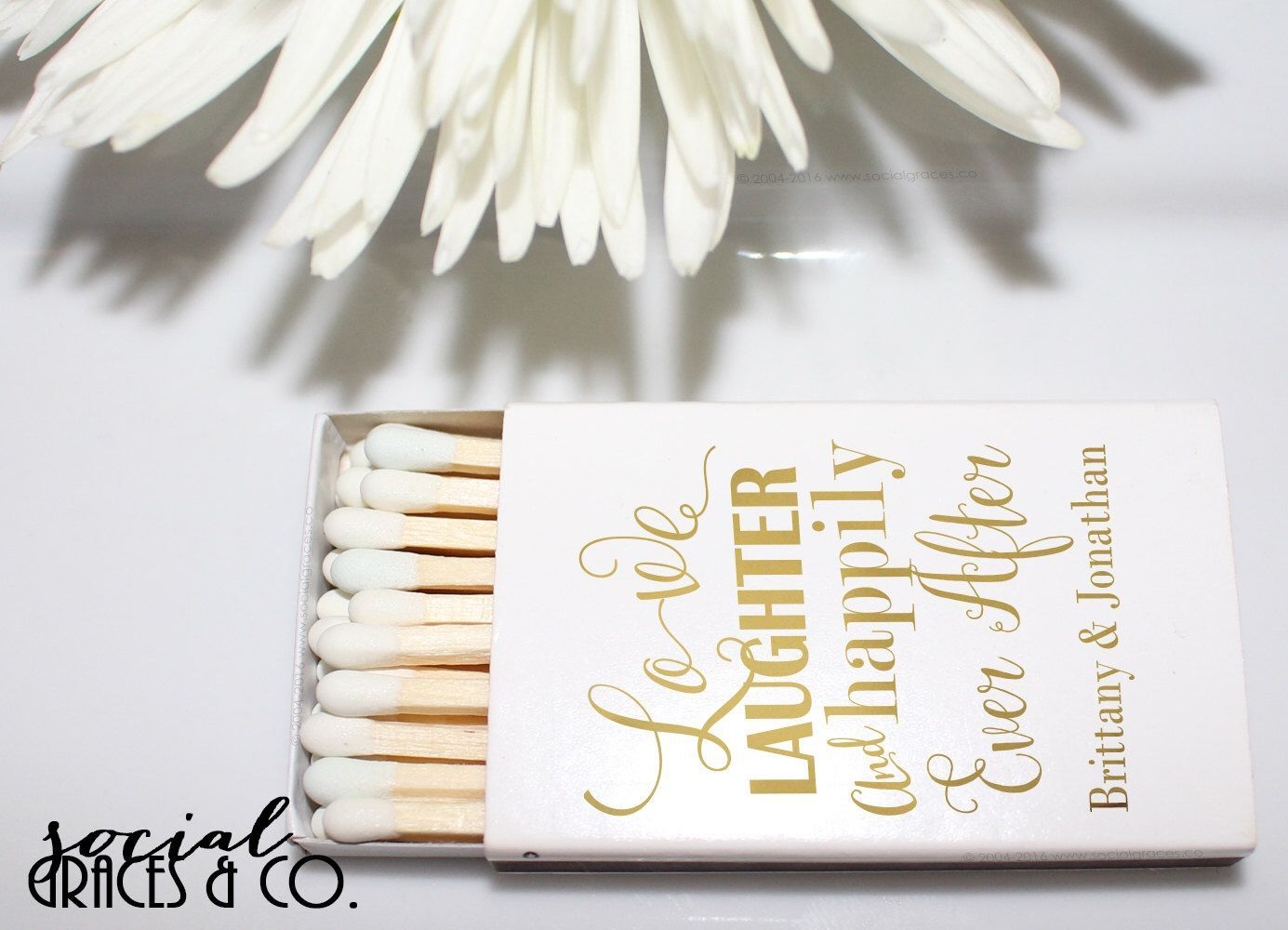 Wedding Favor Matchbox | Bride Groom Favors | Metallic Foil Matches ...