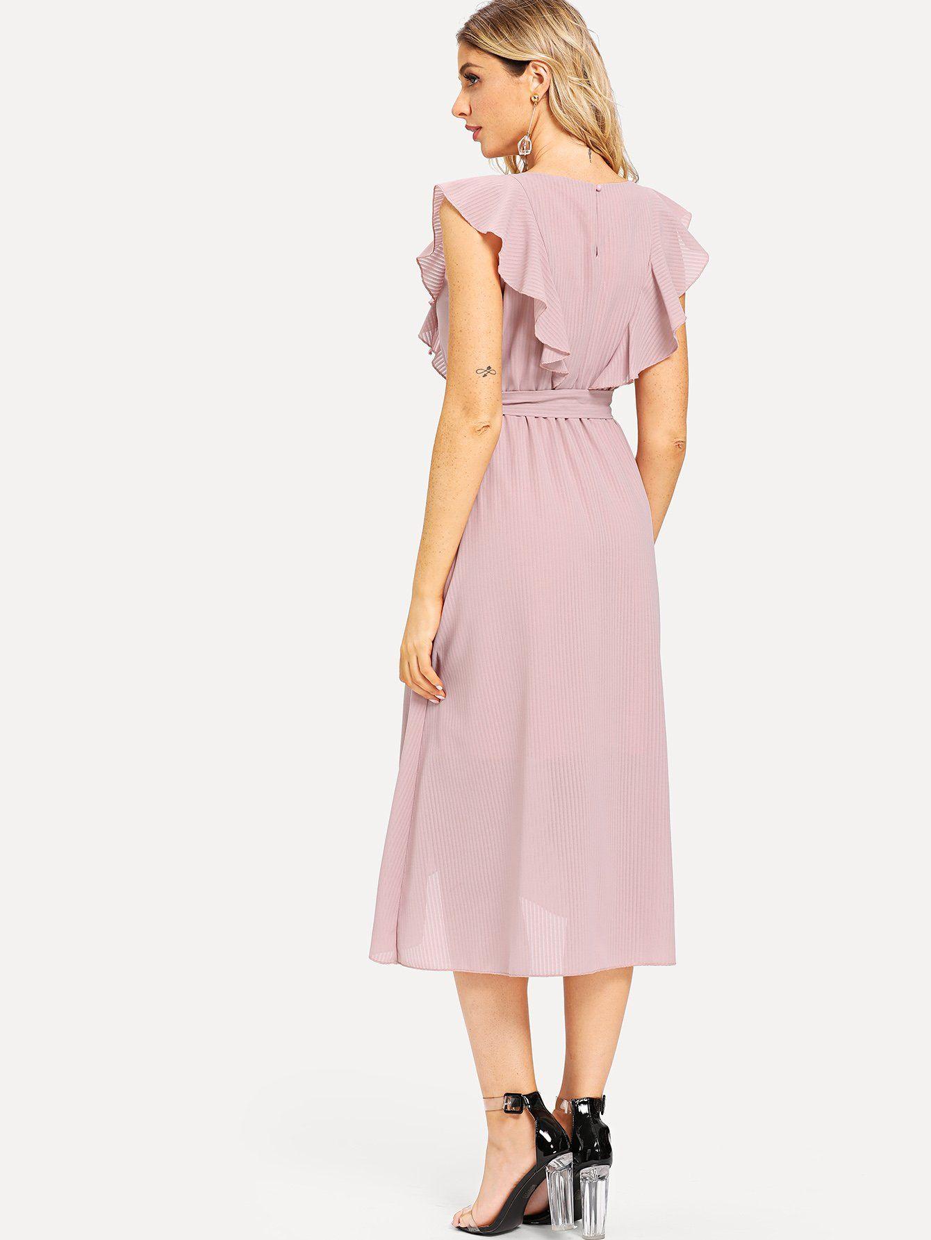 7fb82b2795 Flounce Trim Asymmetrical Wrap Hem Belted Dress -SheIn(Sheinside ...