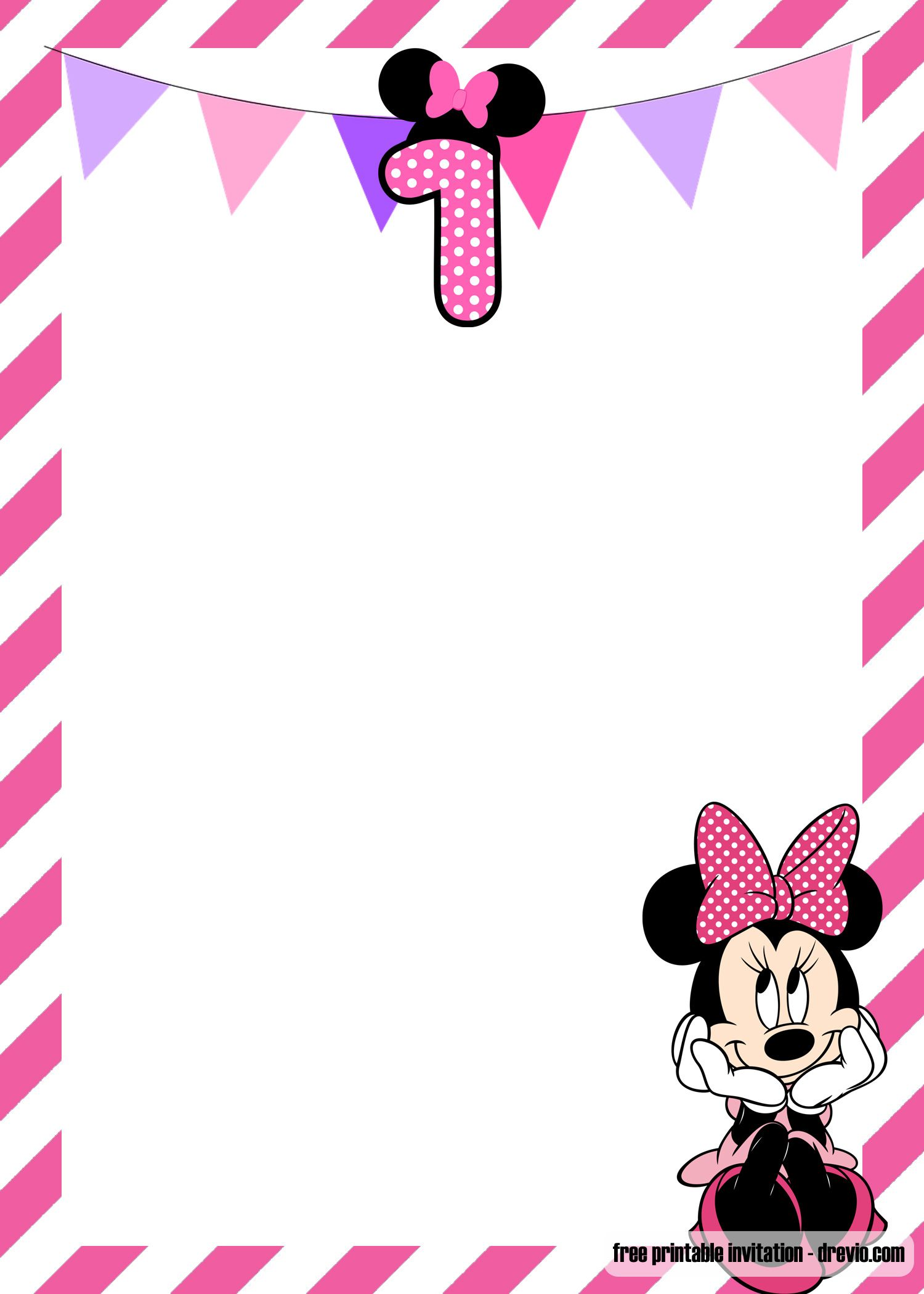 Free Minnie Mouse 1st Birthday Invitations Templates Drevio Birthday Invitation Card Template First Birthday Invitation Cards Minnie Mouse Invitations