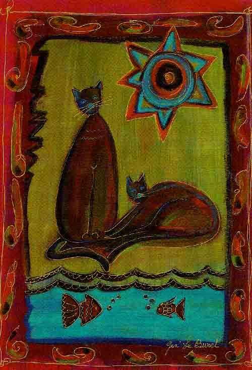 Postkaart  Titel : Katten bij de vijver  Kunstenares: Gen Le Buret. Collectie Postersquare