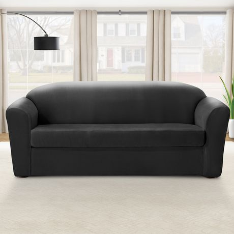 Superb Surefit Sure Fit Eastwood Stretch Sofa Slipcover Black Ibusinesslaw Wood Chair Design Ideas Ibusinesslaworg