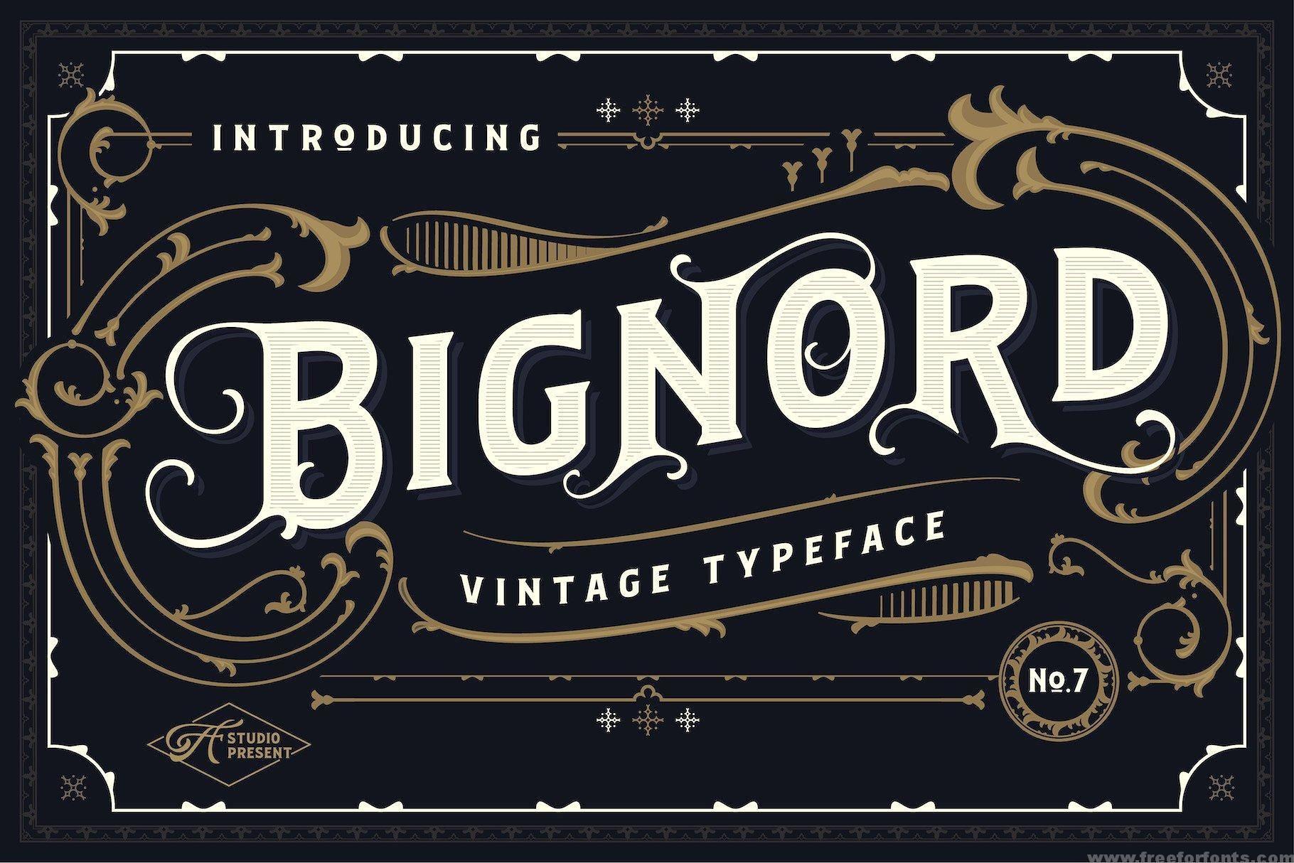 Bignord Vintage Font Free Download Free For Fonts Vintage Fonts Vintage Fonts Free New Fonts
