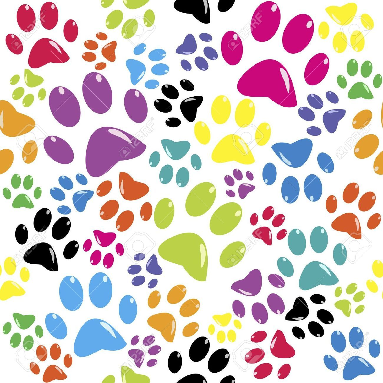 Dog Print Wallpaper seamless pattern with colored paws stock vector dog paw print