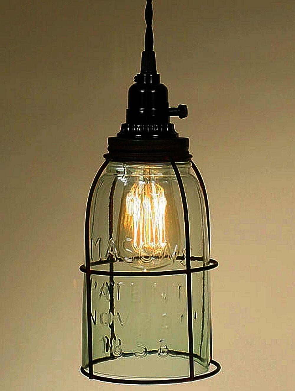 Caged Mason Jar Open Bottom Pendant Light Fits Perfectly In Any