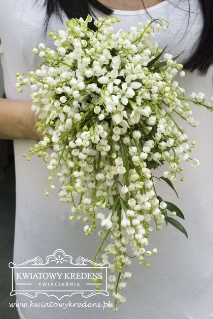 Romantic Teardrop Cascade Wedding Bouquet Of White Lily Of The Valley White Bouvardia Eskuvo