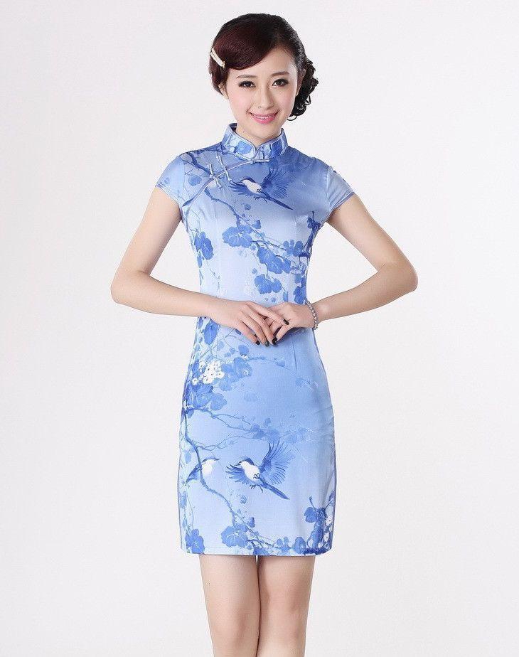e0bc9a0a348 Fashion Light Blue Chinese Women s Silk Rayou Cheong Sam Mini Qipao