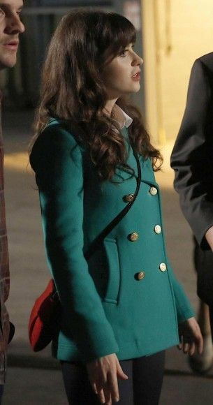 Jess Days green pea coat with gold buttons on New Girl.  Outfit Details: http://wornontv.net/10151/