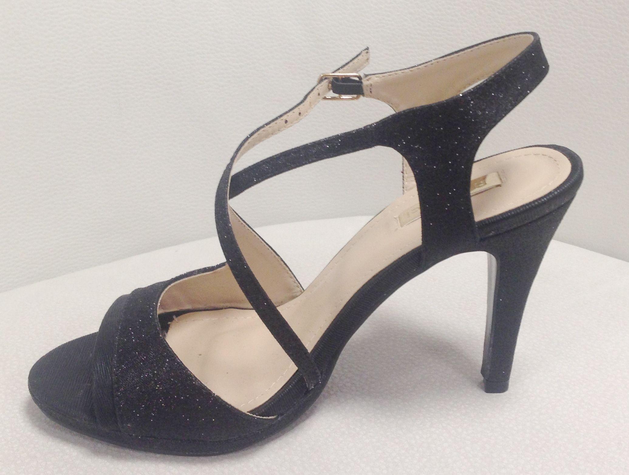 différemment bf4f8 e8201 Sandales noir brides croirsées talon 8 cm avec plateforme ...