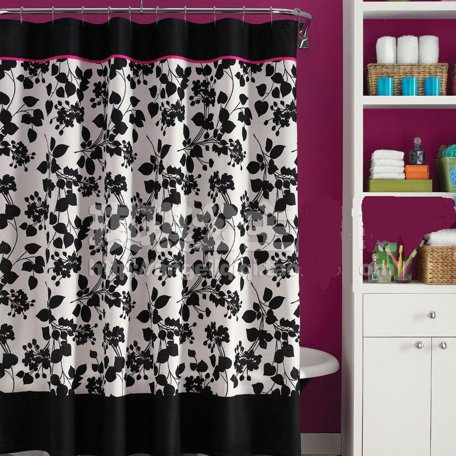 Black White Floral Waterproof Mildew Resistant Shower Curtain 4