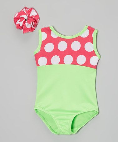 Loving this Lime & Neon Pink Polka Dot Leotard & Hair Tie - Girls on #zulily! #zulilyfinds (For Tumblebees Class!!) ;)