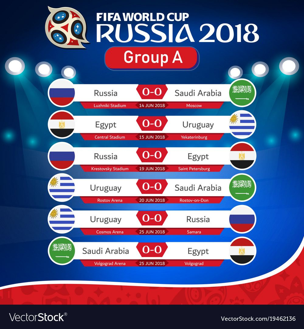 Fifa World Cup Russia 2018 Group A Fixture Vector Image On Vectorstock Fifa World Cup World Cup Russia 2018 Fifa