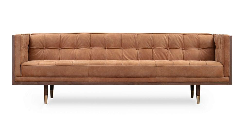 Woodrow Box 87 Leather Sofa Walnut Cognac Leather Sofa Walnut Sofa Sofa