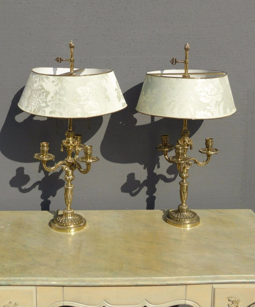Pair vintage french provincial brass table lamps three arm pair vintage french provincial brass table lamps three arm candelabras w shade aloadofball Images