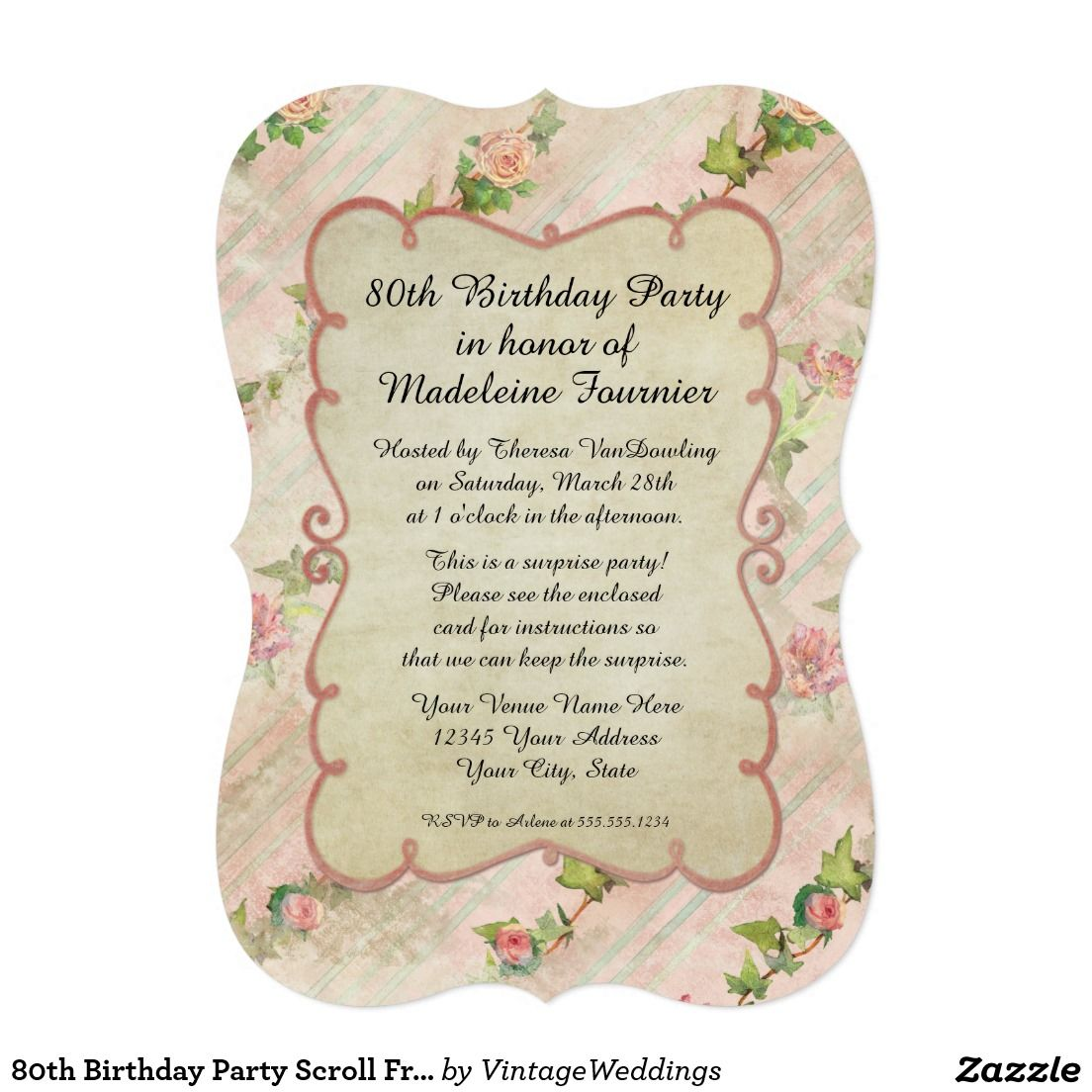 80th Birthday Party Scroll Frame w Vintage Roses Card