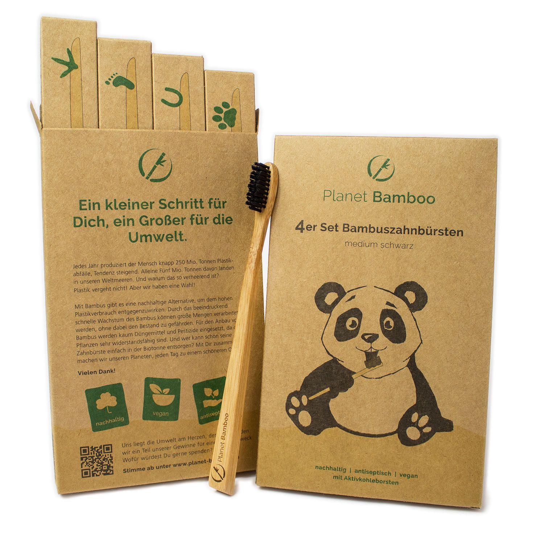 Bambus Zahnburste Nylonborsten Mit Aktivkohlepartikeln Fur