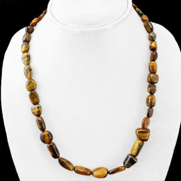 Photo of Natural Golden Tiger Eye Necklace Untreated Beads