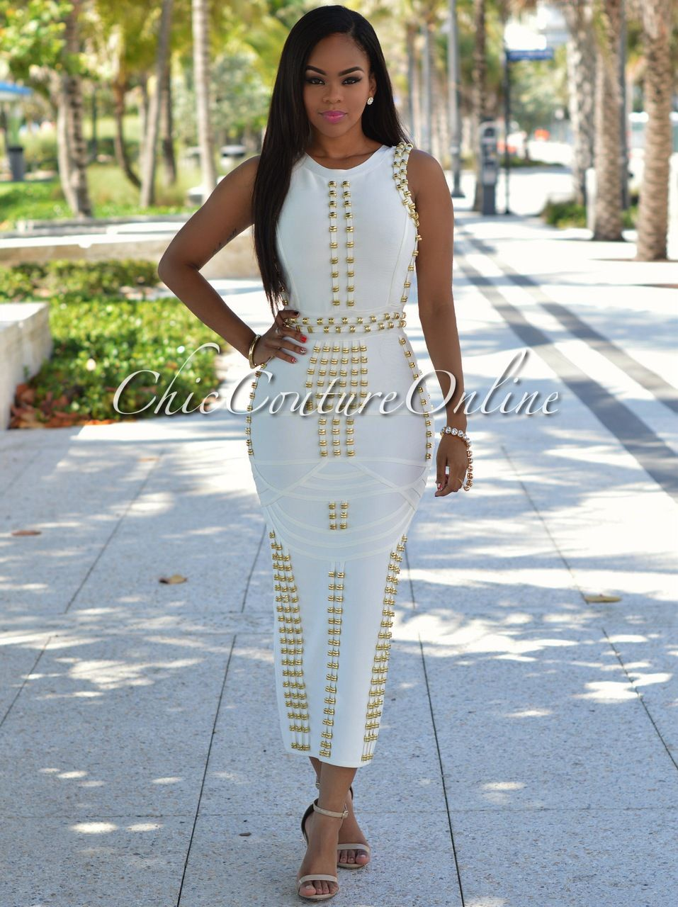 Chic Couture Online - Calico Off-White Gold Decor Luxe Maxi Bandage ...