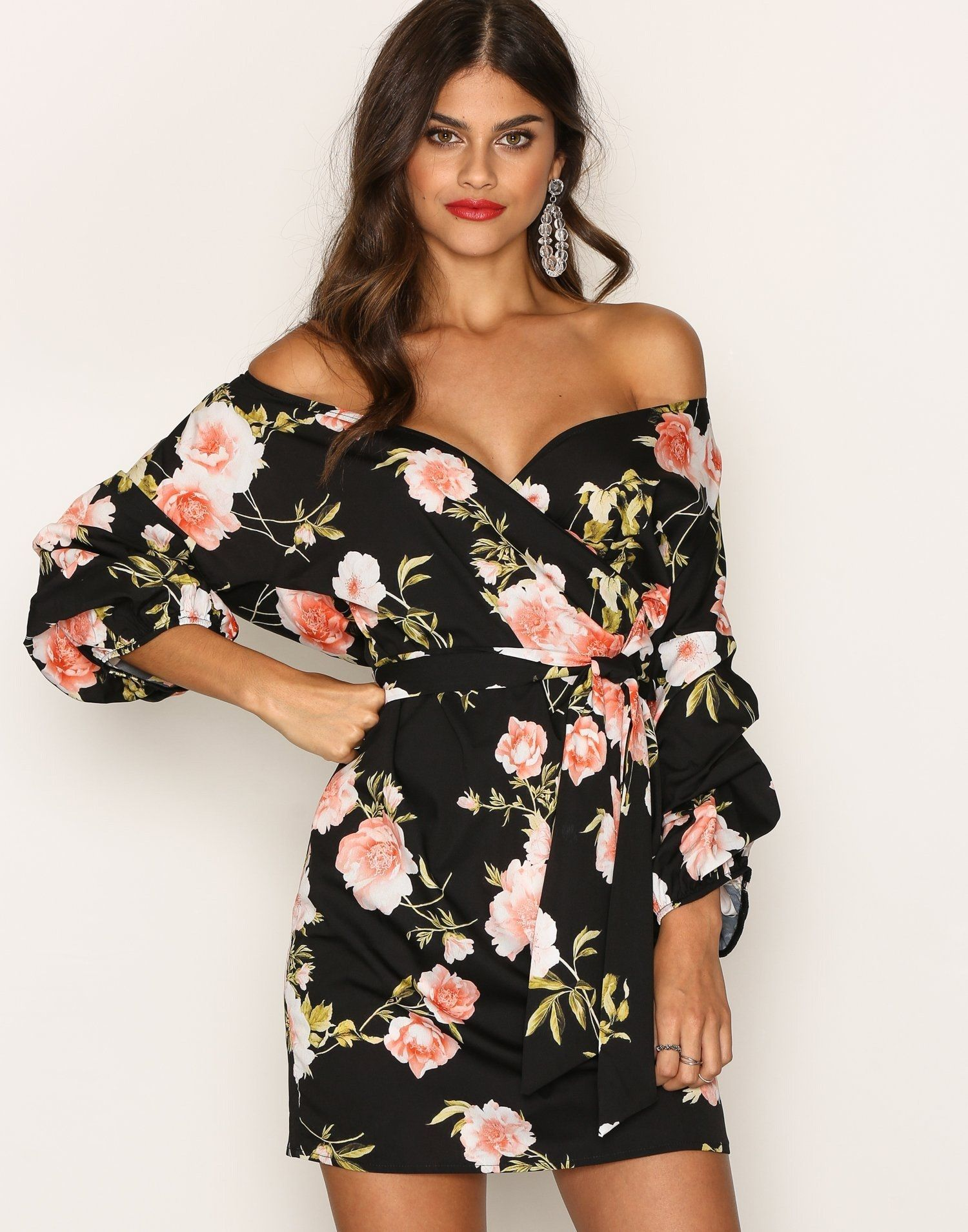 d2e15ed8729e Wrap Shoulder Dress - Nly Trend - Floral - Dresses - Clothing ...