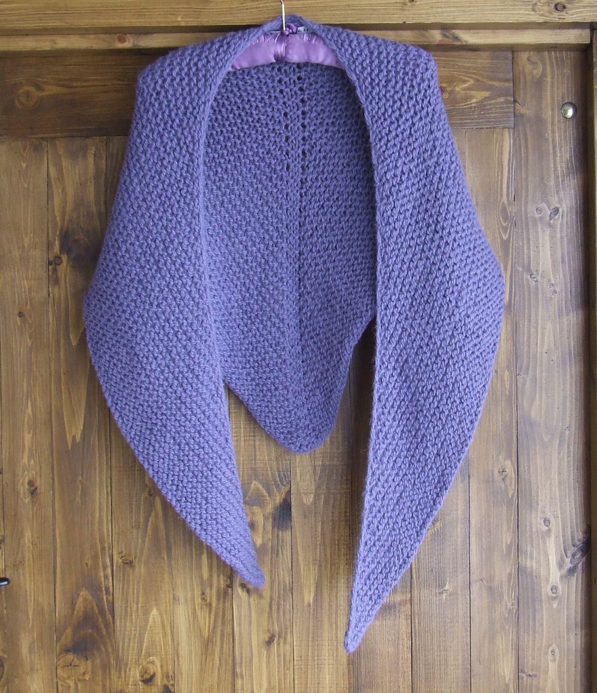 Hand knitted chunky alpaca shawl - Knit triangle shawl - Ladies hand ...