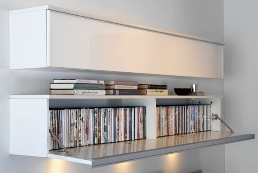 Accessories U0026 Furniture,Graceful Contemporary DVD Shelves Storage Solution  With White Wooden Material And 2 Tier Storage Feat White Wooden Door  Complete ...