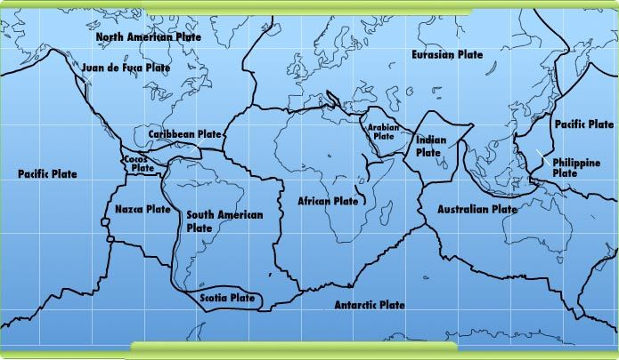 Tectonic Plates Map showing how the Earthu0027s continents are - copy world map with ocean trenches