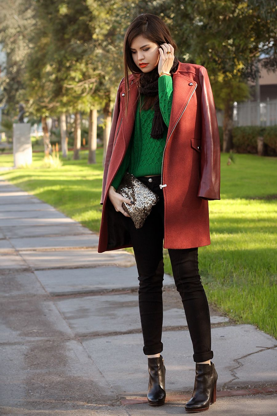 christmas outfits part ii complementary colors fake leather blog