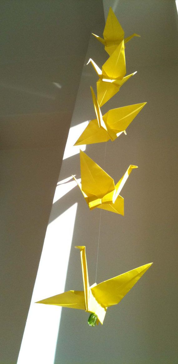 5 Dangling Cranes  CHOOSE Your OWN COLOR by makikomo on Etsy, $9.00