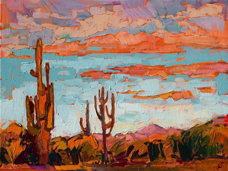 Desert Dusk Contemporary Impressionism Landscape Oil Paintings For Sale By Erin Hanson Western Landscape Art Oil Painting Landscape Desert Painting