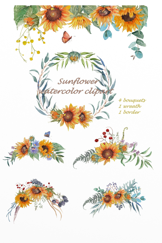Sunflower Watercolor Clipart Floral Wedding Bouquet Sunflower