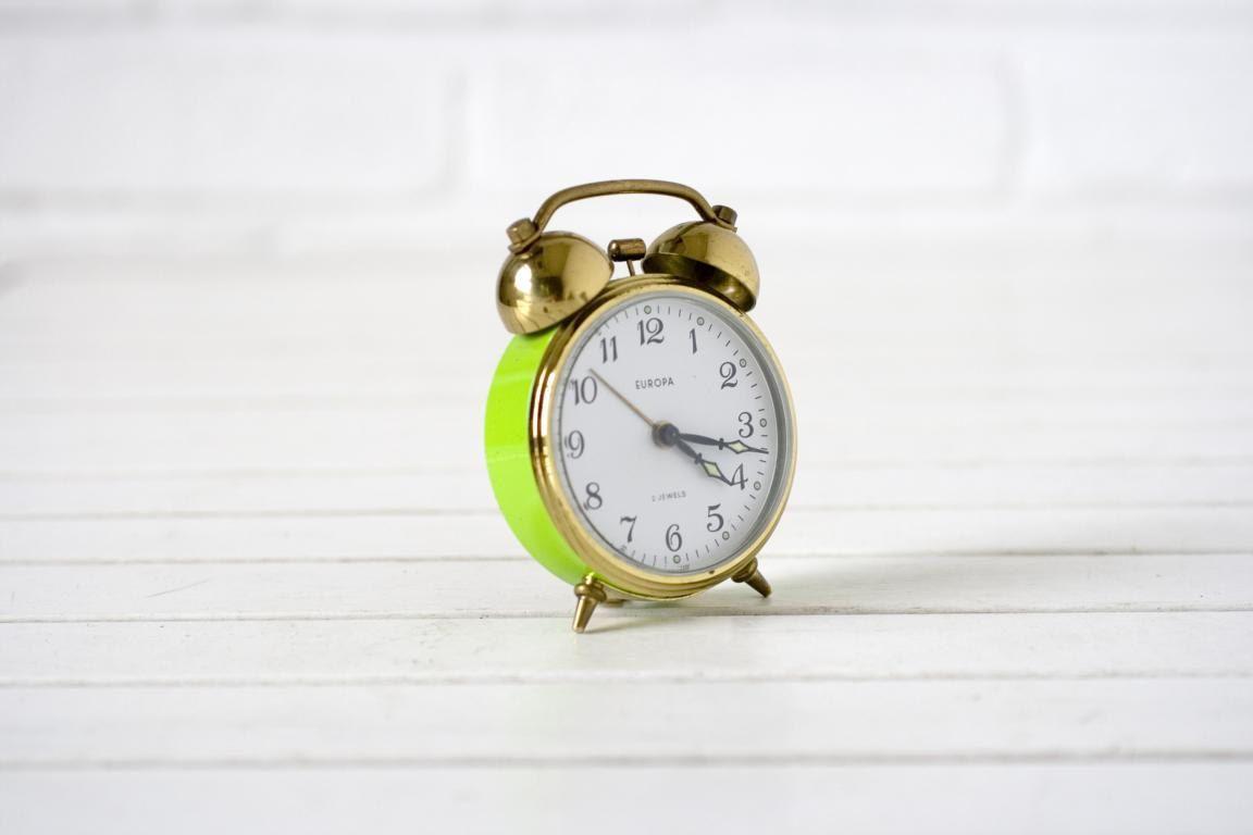 Vintage German Alarm Clock Lime Green and Gold. $35.00, via Etsy. #splendidsummer