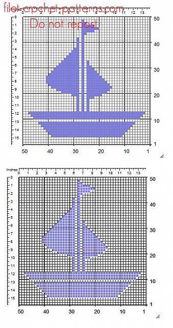Small Geometric Ship Free Crochet Filet Insert Pattern Free Filet