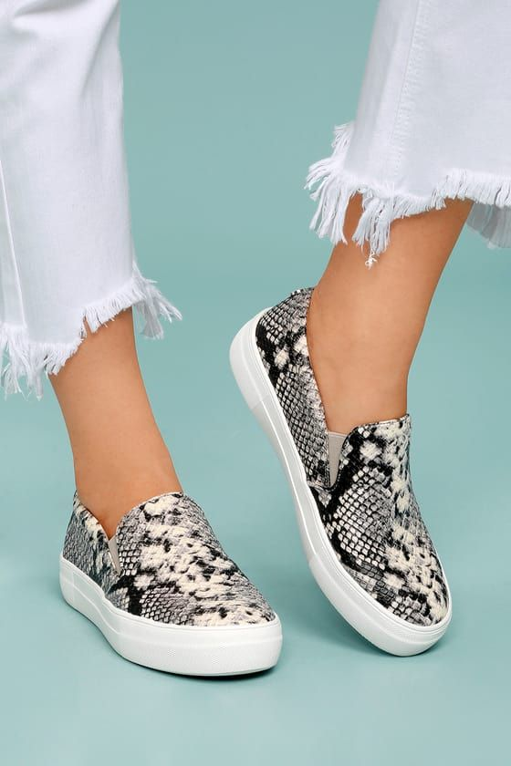cfd0bd96f90 There s nothing quite like the excitement of stepping out in your new Steve  Madden Gills Natural Snake Slip-On Sneakers! Snake print embossed vegan  leather ...