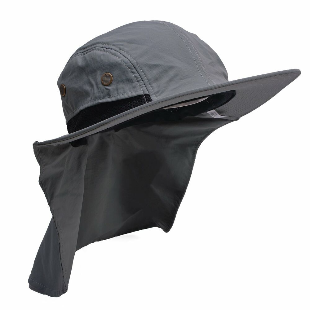 7fc8e7741 Mens Wide Brim Outdoor Sun Neck Protection Fishing Flap Anti-UV Hat ...