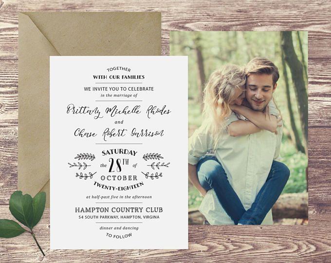 the hampton wedding invitation with photograph and rsvp photograph