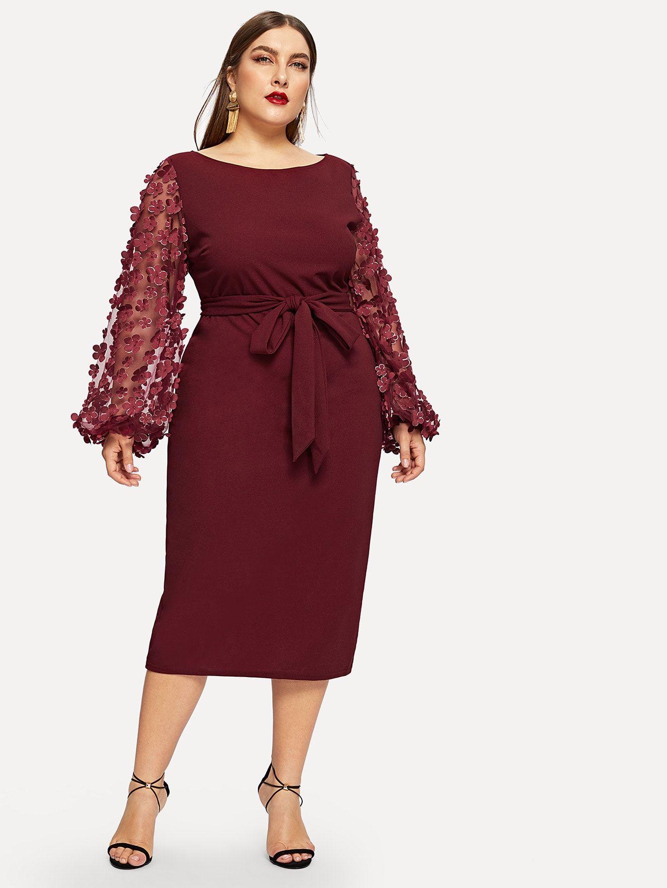 Plus applique mesh sleeve pencil dress with belt check out