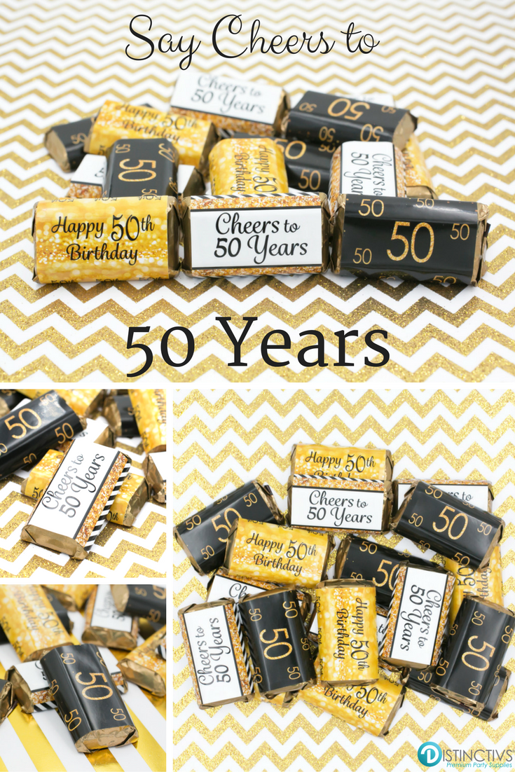 Black And Gold 50th Birthday Party Mini Candy Bar Stickers Set