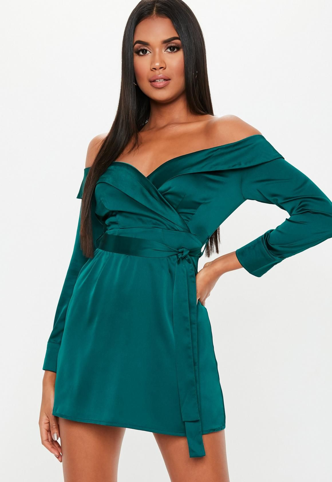 a16c970e7 Missguided - Green Satin Bardot Tie Mini Dress | occasions in 2019 ...
