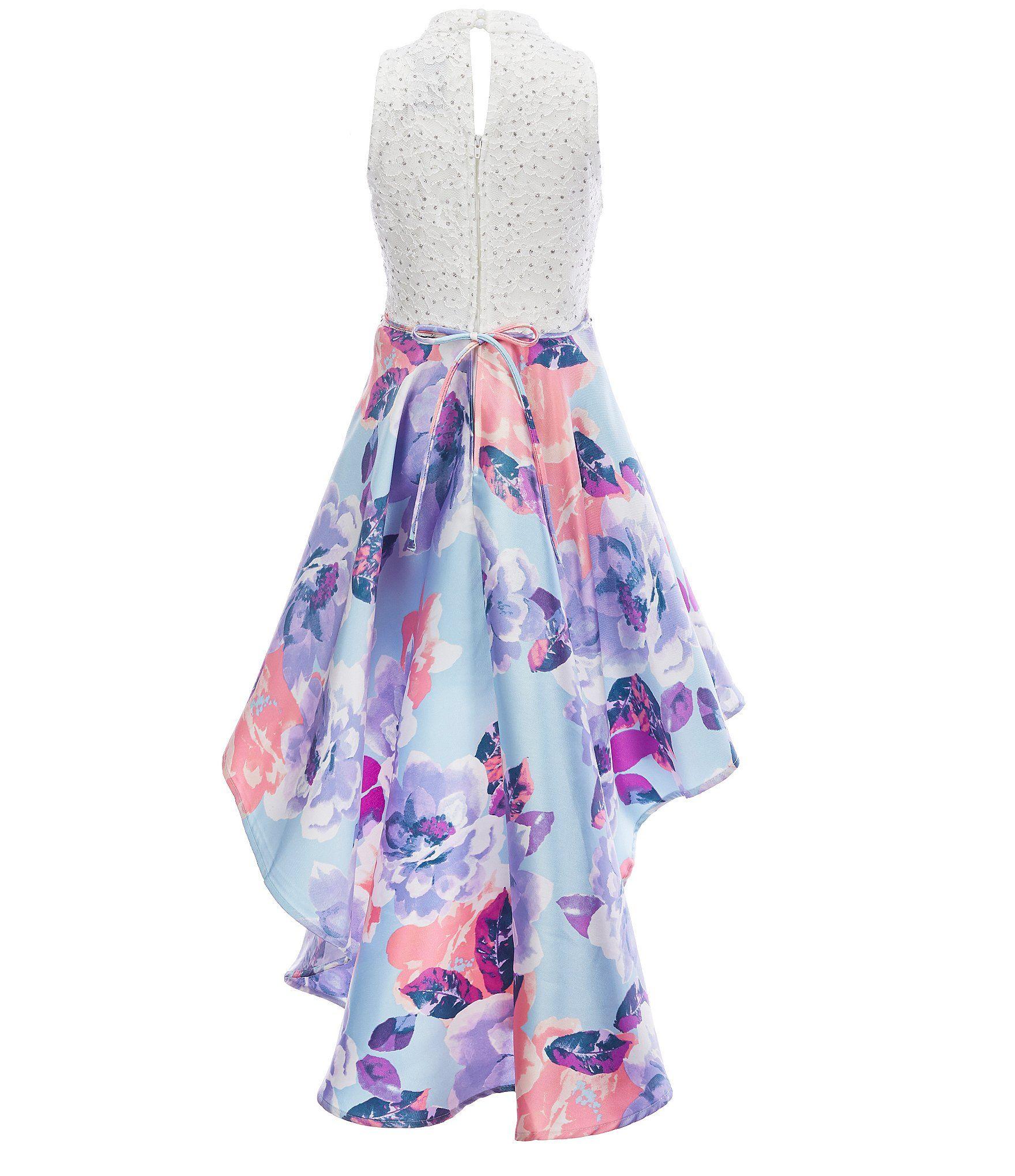 Xtraordinary Big Girls 7-16 Illusion Lace/Floral-Mikado Hi-Low Dress | Dillard's -   16 DIY Clothes Lace girls ideas
