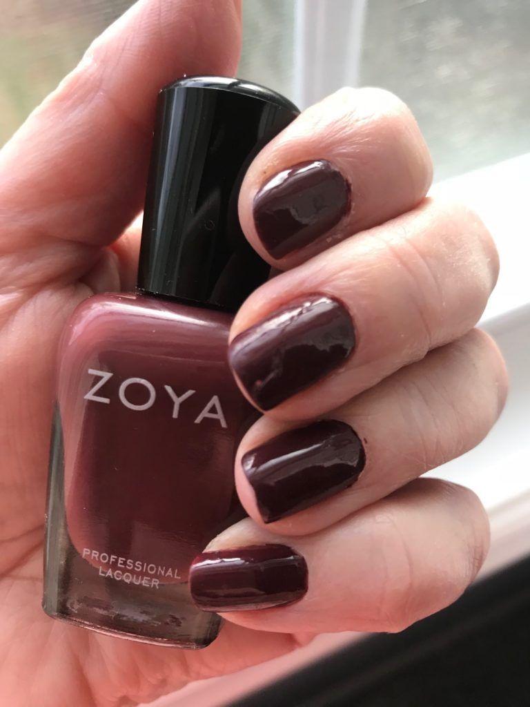 Zoya nail polish, Mona, a deep burgundy plum cream: my nails and the ...